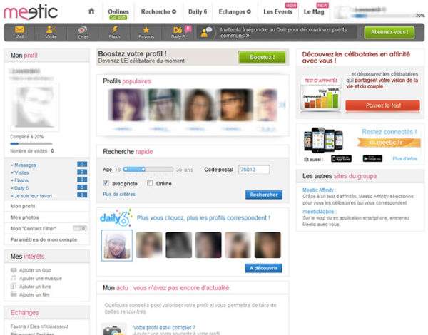 meetic interface et membres